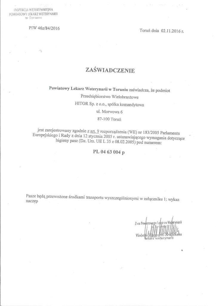 Zaświadczenie do certyfikaty GMP od lekarza weterynarii